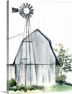 Farmhouse Paintings, Farm Paintings, Country Paintings, Canvas Paintings, Painting Frames, Watercolor Barns, Watercolor Paintings, Watercolors, Easy Watercolor