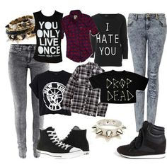 Punk rock outfits minus that stupid yolo shirt Punk Rock Outfits, Grunge Outfits, Cute Emo Outfits, Scene Outfits, Edgy Outfits, Fashion Outfits, Girl Outfits, Fashion Teens, Hipster Outfits