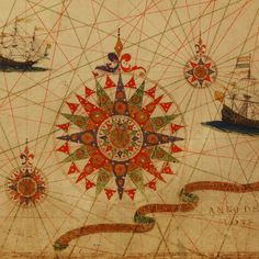 1633 portolan chart of the Atlantic Ocean with continents by Portuguese cartographer Pascoal Roiz