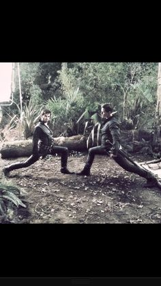 Colin O'Donoghue (Hook) and Josh Dallas (Charming) being silly on the set of OUAT... U do those lunges!