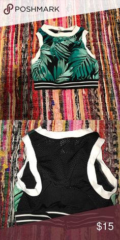 Palm leaves halter bikini top It looks tiny but it's really stretchy. Never worn! Mesh in the back. Forever 21 Swim Bikinis