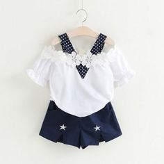 2-piece Floral Trimmed Off Shoulder Top and Star Print Shorts for Girls