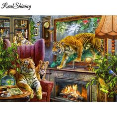 86319047d0 5D Diamond Painting Tigers in the Living Room Kit Offered by Bonanza  Marketplace. http: