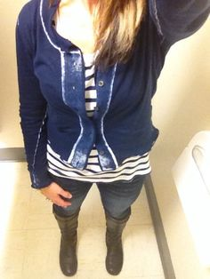 CAbi - new stripe tee with the centerfield cardigan