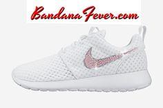 """Bandana Fever - Nike """"Pink Bling"""" Roshe Run Women's White/Metallic Platinum Swoosh by Bandana Fever, (http://www.bandanafever.com/nike-pink-bling-roshe-run-womens-white-metallic-platinum-swoosh-by-bandana-fever/)"""