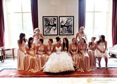 gorgeous gowns, love the color, such a warm glow - not the best fabric for a late July wedding though