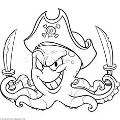 Octopus Coloring Page, Pirate Coloring Pages, Bird Coloring Pages, Cartoon Coloring Pages, Adult Coloring Pages, Coloring Pages For Kids, Octopus Colors, Cute Octopus, Pirate Quilt