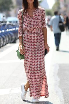 Print V Neck Long Sleeves Maxi Dress