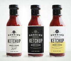 Bernie's Burger Bus by Make & Matter ketchup bottle label design. Food Packaging Design, Beverage Packaging, Bottle Packaging, Pretty Packaging, Packaging Design Inspiration, Brand Packaging, Beauty Packaging, Coffee Packaging, Chutney