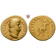 Römische Kaiserzeit, Nero, Aureus 64-65, ss: Nero 54-68. Aureus 19 mm 64-65 Rom. Kopf r. mit Lorbeerkranz NERO CAESAR AVGVSTVS /… #coins