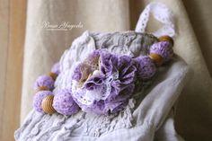"""Купить """"Цветет сирень"""". - сирень, сиреневый, цветы, текстильные бусы, весна, цветение, 100% хлопок"""
