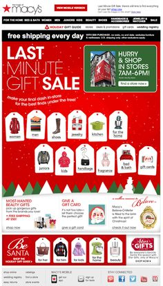 Macy's holiday email 2013