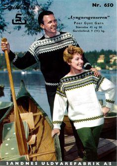 Lyngnes genser Norwegian Knitting, Fair Isle Knitting Patterns, Nordic Design, Vintage Knitting, Embroidery Patterns, Christmas Sweaters, Nye, Mens Fashion, Retro
