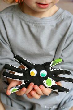 DIY Kid Halloween Keepsake:  Handprint Spiders from Fun at Home with Kids