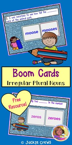 This is a set of 12 cards to practice irregular plural nouns. I believe it is best suited to grades 2-3 students. #grade 2, #grade 3, #BOOM CARDS, #Jackie Crews, #irregular noun plurals, #nouns, #plurals, #ELA, #ESL, #distance learning, #freebies, #language