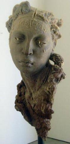"'Cabeza de Mujer (mono)' by Mexican artist  Javier Marín (b.1962). Resin polyster (75 x 35 x 28.5"")"