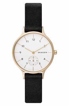 Main Image - Skagen Anita Leather Strap Watch, 34mm