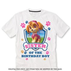 SISTER Sky Paw patrol iron on transfer Paw от lauraspartyshop