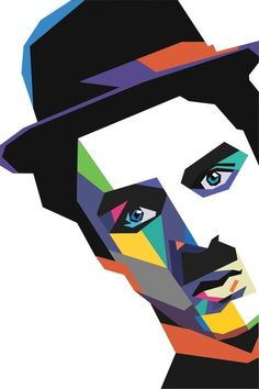A portrait in graphic art of Charlie Chaplin Geometric Art, Pop Art Portraits, Art Painting, Art Drawings, 3d Chalk Art, Wpap Art, Pop Art Painting, Art, Illusion Art