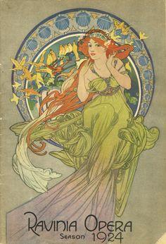 Ravinia Opera Season by Alphonse Mucha Art Nouveau Mucha, Alphonse Mucha Art, Bijoux Art Nouveau, Art Vintage, Vintage Posters, Ballet Posters, Music Posters, Illustration Art Nouveau, Illustrator