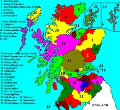 County Map of Scotland showing all Scottish counties
