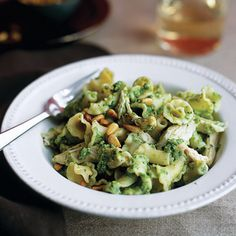 Campanelle with Chicken and Pea-Mint Pesto #recipe #pasta