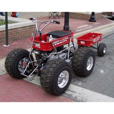 You can't ride in my little red wagon! It's all jacked up and my carts a waggin! Custom Radio Flyer Wagon, Radio Flyer Wagons, Karting, Mini Buggy, Go Kart Plans, Diy Go Kart, Little Red Wagon, Drift Trike, Kids Ride On
