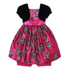 Rose Velvet Glitter Dress (12-24m)