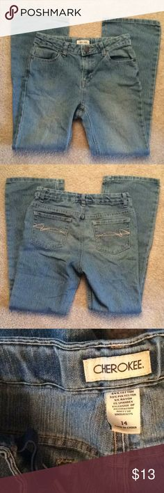 Cherokee adjustable waist light denim jeans sz 14 Jeans Cherokee Bottoms Jeans