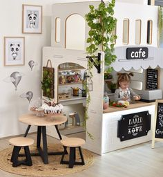 I moved the kids Cafe Cubby from the playroom, can't wait to show what I have been working on for Harlow's Party with 😍 it's… Playroom Design, Playroom Decor, Playroom Ideas, Cubby Houses, Play Houses, Nursery Room, Kids Bedroom, Childrens Kitchens, Toddler Playroom