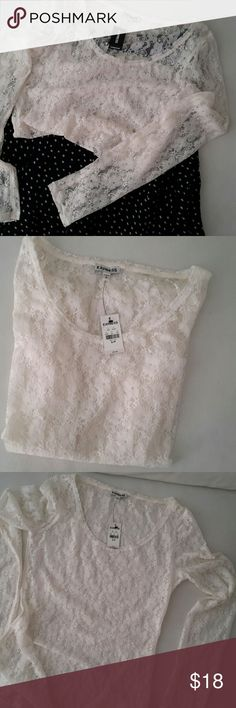 Express Lace Top White sheer lace top by Express. NWT. Size SP Express Tops Blouses