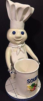 2004 Pillsbury Doughboy Figurine Soup Pot Collectible Utensils Holder
