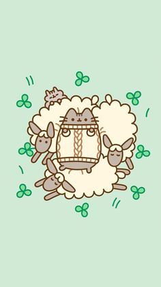 Pusheen shamrock sheep phone wallpaper