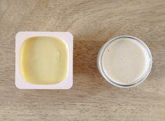 Danettes Ingrédients (pour 6 petits pots)  – 1 L de lait demi-écrémé – 70 g de sucre blond de canne – une gousse de vanille – 6 c. à soupe rases de fécule de maïs – 1 c. à soupe bombée de crème fraîche épaisse et entière – 1/2 verre de cantine d'eau (60 mL)