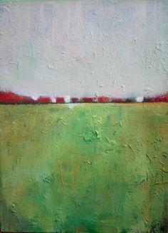 Green Valley Original acrylic painting abstract by VESNAsART