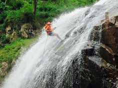 Scared of heights and abseiling down a waterfall in Dalat!