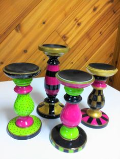 Hand Painted Wooden Candlesticks Set of 4 by krystasinthepointe Whimsical Painted Furniture, Hand Painted Furniture, Small Furniture, Funky Furniture, Diy Arts And Crafts, Wood Crafts, Painted Candlesticks, Painted Stools, Painting Lamps