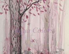 Fairy forest painting, Original watercolour painting, Wall decor, Original art