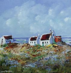 COTTAGES WITH A SHED: (oil on stretched canvas: x x in the Oils category was listed for on 29 Oct at by Louis Pretorius in Cape Town South Africa, Shed, Stretched Canvas, Cottages, Oil, Painting, Buildings, Landscapes, Paisajes