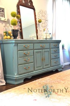 Turquoise painted buffet or dresser  70x18x34  $499 colors to refinish