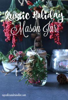 Rustic Holiday Mason Jar design from cupcakesandcrinoline.com Popular pin!