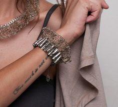 Ruffle Crochet Metal Lace Bracelet Oxidize silver by INBAR SHAHAK-IL