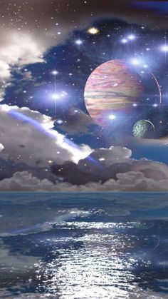 Outer Space above the Ocean.You can find Outer space and more on our website.Outer Space above the Ocean. Planets Wallpaper, Wallpaper Space, Galaxy Wallpaper, Nature Wallpaper, Sci Fi Wallpaper, Outer Space Crafts, Outer Space Theme, Space Artwork, Space Painting