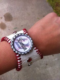 Baseball mom bracelet cuff team name and by Rocknmamadesigns