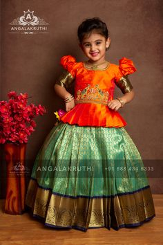 kanchivaram pavada indian lenghas for kids are never out of Trend silk store Kids Lehanga Design, Girls Frock Design, Kids Frocks Design, Baby Frocks Designs, Baby Dress Design, Baby Girl Frocks, Frocks For Girls, Dresses Kids Girl, Kids Outfits