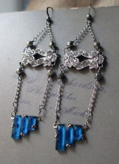 'zelda, the earrings' vintage assemblage Art Deco rhinestone earrings by The French Circus, $45.00