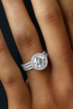 30 Wedding Ring Sets That Make The Perfect Pair ❤️ wedding ring sets three pave bands white gold round diamond halo ❤️ See more: