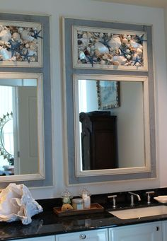 Take a look at the best florida condo bathroom in the photos below and get ideas for your own luxury vacations! Beautiful coastal beach house or condo bathroom with shell accent mirror. Bathroom Design Decor, Coastal Decor, Cottage Style, Nautical Kitchen, Beach House Decor, Beach Theme Bathroom, Beach Cottage Style, Beach Bathrooms, Coastal Homes