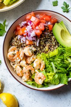 These Lemon-Chili Shrimp Quinoa Bowls are an easy meal-prep idea for a healthy lunch or quick weeknight dinner! These quick and easy Lemon-Chili Shrimp Avocado Quinoa Bowls are great for lunch or dinner, or make them ahead for meal prep! Lime Shrimp Recipes, Seafood Recipes, Cooking Recipes, Healthy Recipes, Delicious Recipes, Baby Recipes, Budget Recipes, Protein Recipes, Ww Recipes