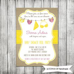 Pool Party - Diapers Baby Shower - Baby Shower Printable Invitation - 5 x7 JPG via Etsy